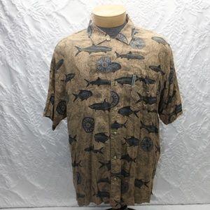 Columbia Hawaiian Shirt Fish Print Size Medium